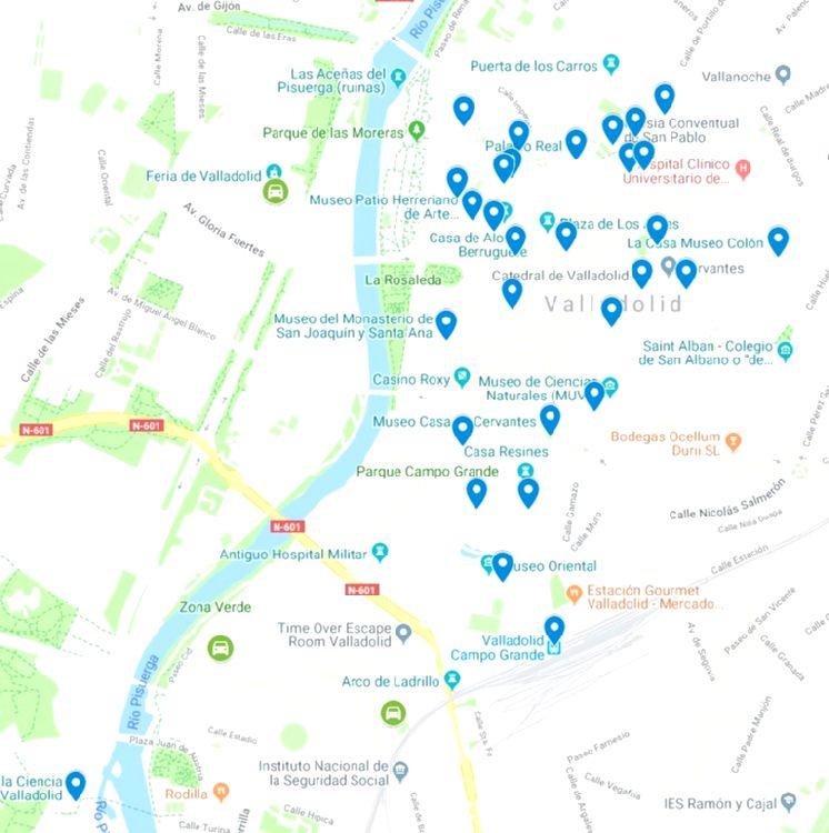Mapa turístico de Valladolid