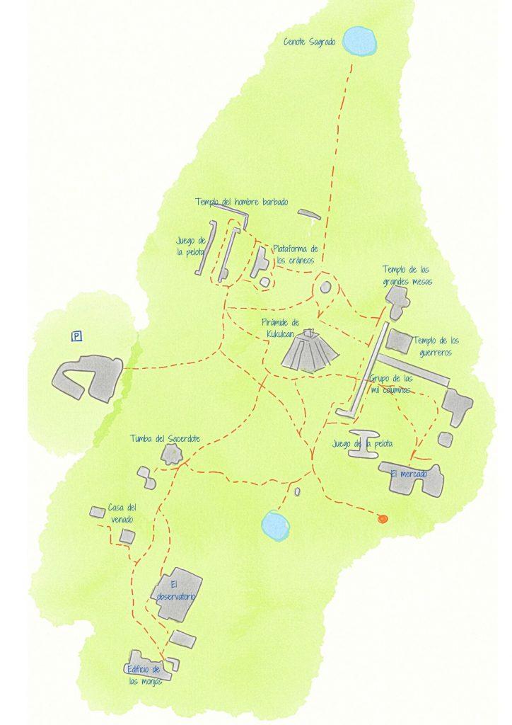 mapa de chichen itza