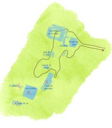 mapa de la zona arqueológica de uxmal